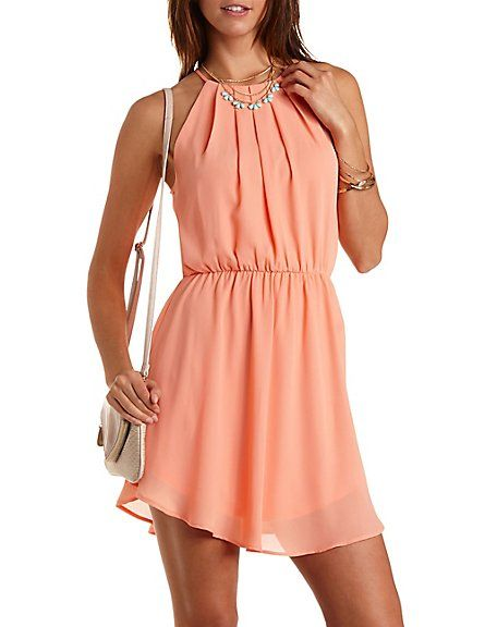 Curved Hem Chiffon Halter Dress: Charlotte Russe #halter #dress #chiffon