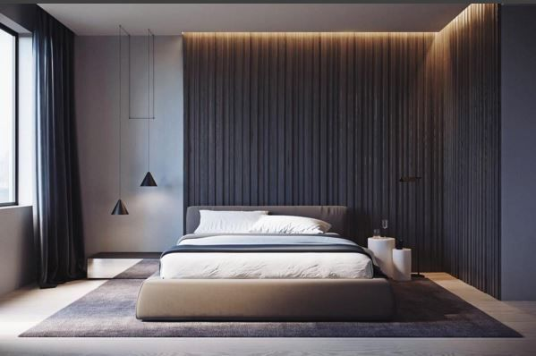 Asymmetrical headboard wall