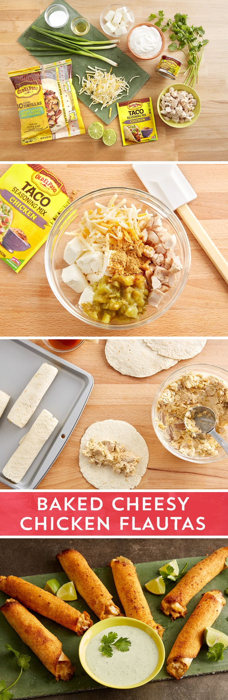 These baked flautas give you all the crispy, cheesy flavor of traditional flautas without the deep-fried hassle and mess. The one bowl filling comes together in a matter of minutes with chopped chicken, Old El Paso™ chicken seasoning, shredded Mexican cheese blend, softened cream cheese, and Old El Paso™ green chiles. A little oil and Old El Paso™ chicken seasoning on the outside give these flautas beautiful color and an extra kick of flavor. Serve with an easy homemade herbed sour cream…