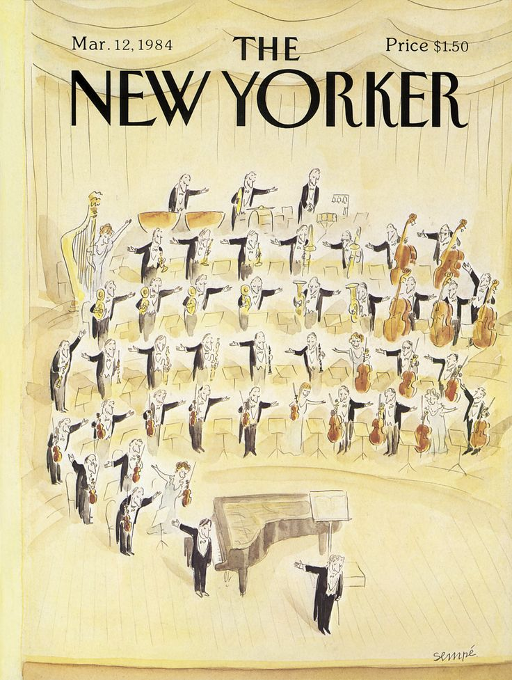 "The New Yorker - Monday, March 12, 1984 - Issue # 3082 - Vol. 60 - N° 4 - Cover by : ""Sempé"" - Jean-Jacques Sempé"