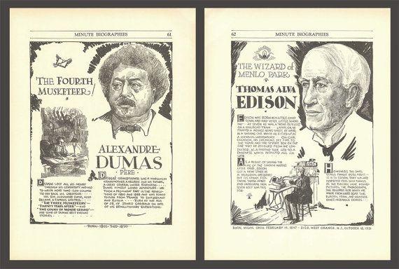 Alexandre Dumas Print Thomas Alva Edison Art by DigitalArtLand