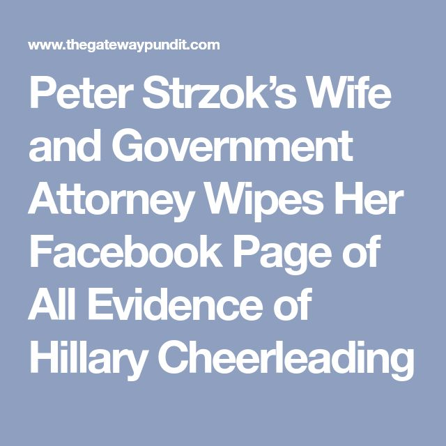 Peter Strzok's Wife and Government Attorney Wipes Her Facebook Page of All Evidence of Hillary Cheerleading – Candace Cookston Howard