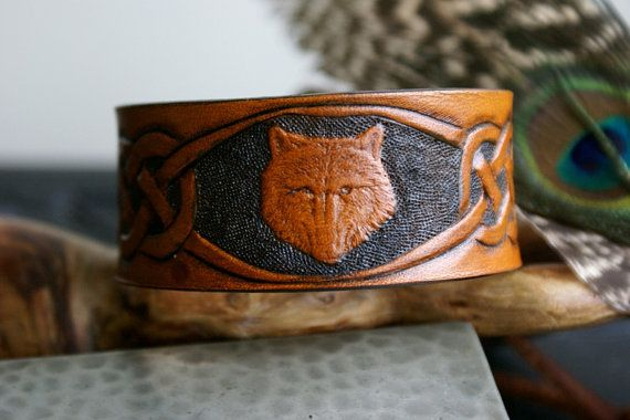 Leather WristbandWolf Celtic Leather by sevenannine on Etsy, $23.00