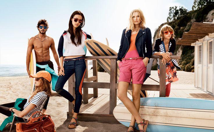 DAMESCOLLECTIE VOORJAAR 2014  Deze lente is gericht op de Amerikaanse westkust met opvallende gestreepte jurken, een felrode bikini onder een jongensachtig shirt, of de perfecte jeans met een zijden blouse om langs de pier te slenteren.