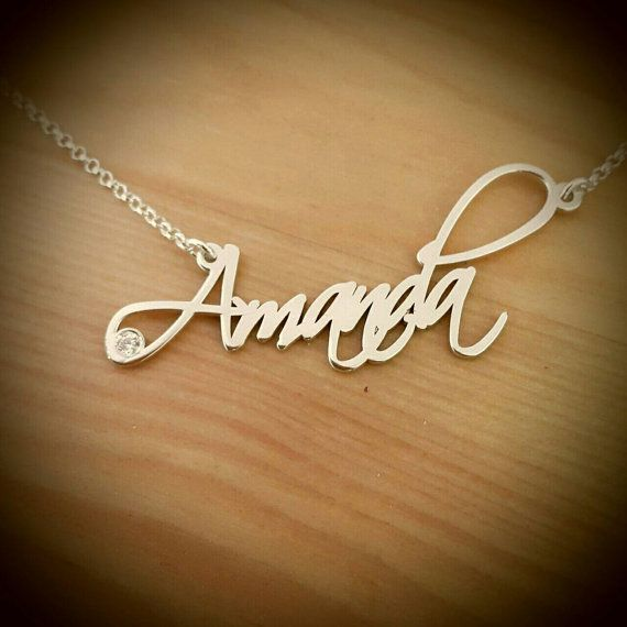 Amanda Style Name necklace/ Silver name by RonLiDesigns on Etsy