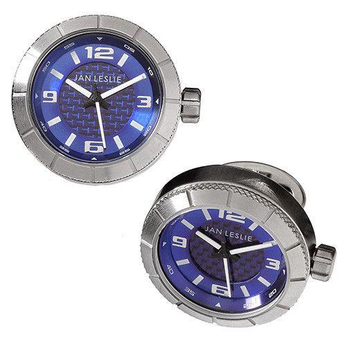 Blue  Sports Watch Cufflinks by Jan Leslie