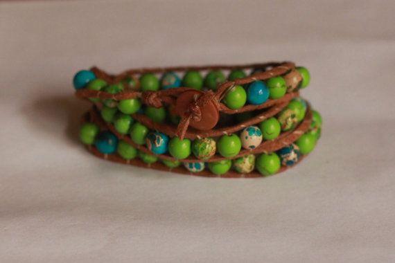 Green triple wrap bracelet by TipToeTulipJewellery on Etsy, $60.00