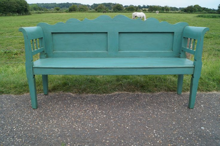 Turquoise Painted Hungarian Bench
