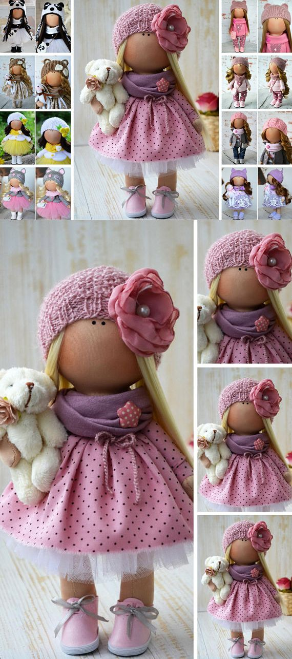 Textile Doll Poupée Nursery Rag Doll Winter Christmas Doll Art