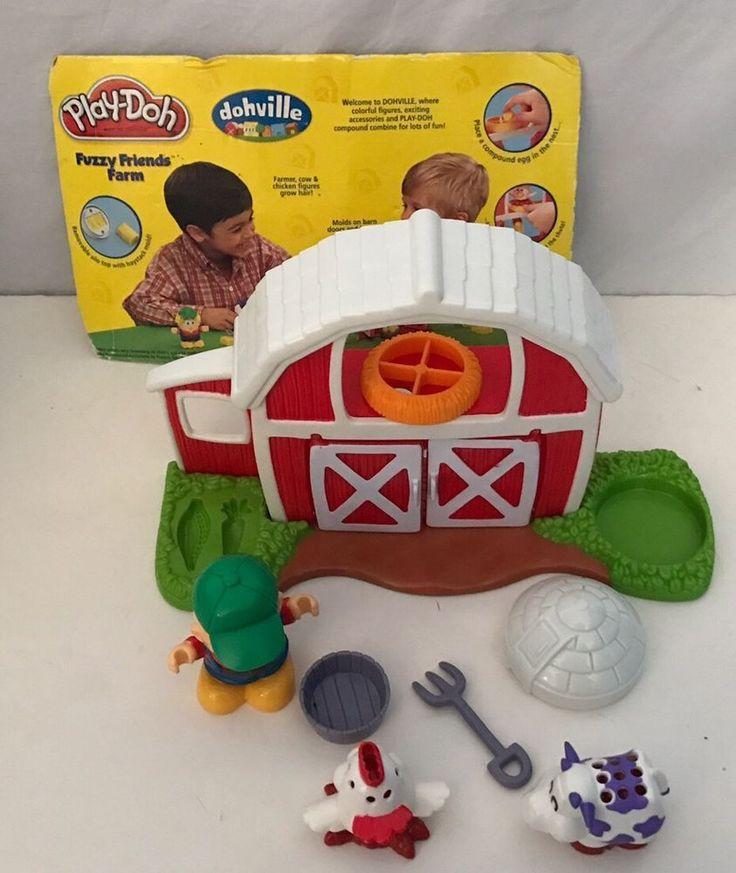 Play Doh Fuzzy Friends Farm Barn Animal Farmer Molds Playset  #Hasbro