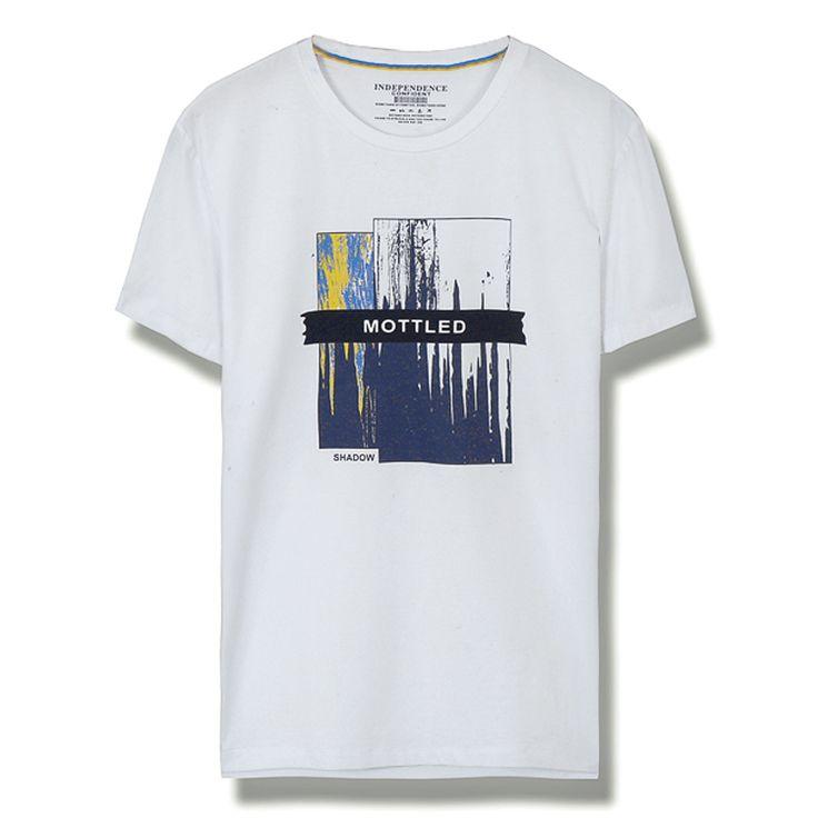 Sa Чи Хуа 2017 лето новые тенденции моды с короткими рукавами футболки мужчин микро-бомбы Тонкий сострадательные молодые люди вокруг шеи - Taobao