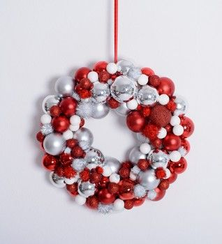 Christmas ornament with red and white baubles - you can hang it on your doors or wall