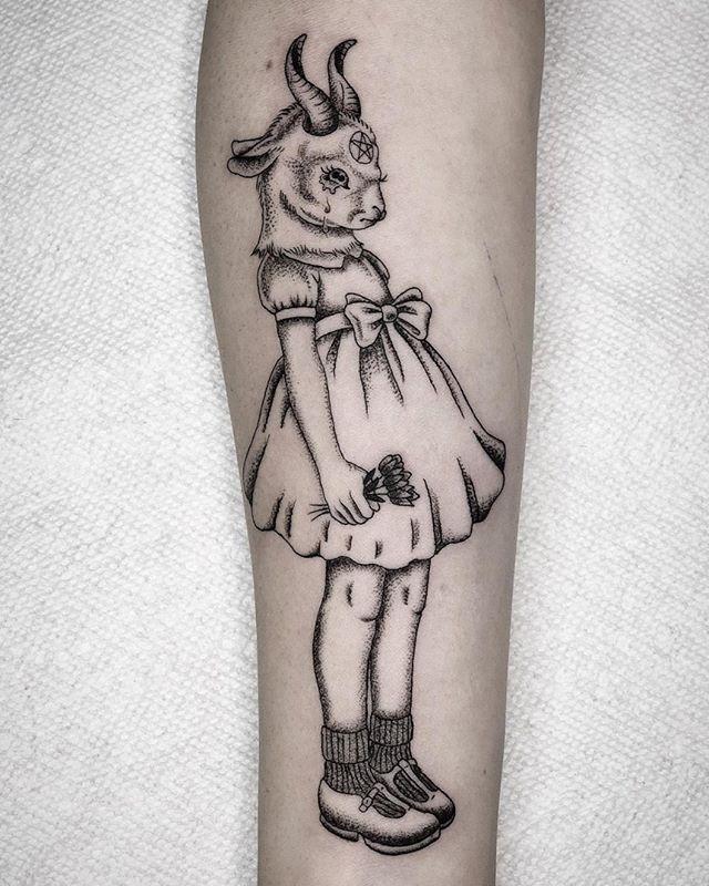 Cute Baby Baphomet By Dean Flash Man Tattoo Tattooartists Blackwork Creepy Tattoos Tattoos Body Art Tattoos