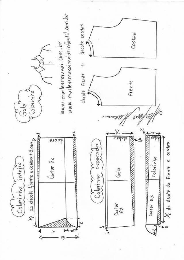 Variación tipos de cuellos | DLUSAS | Costura, Patrones y Patrones ...