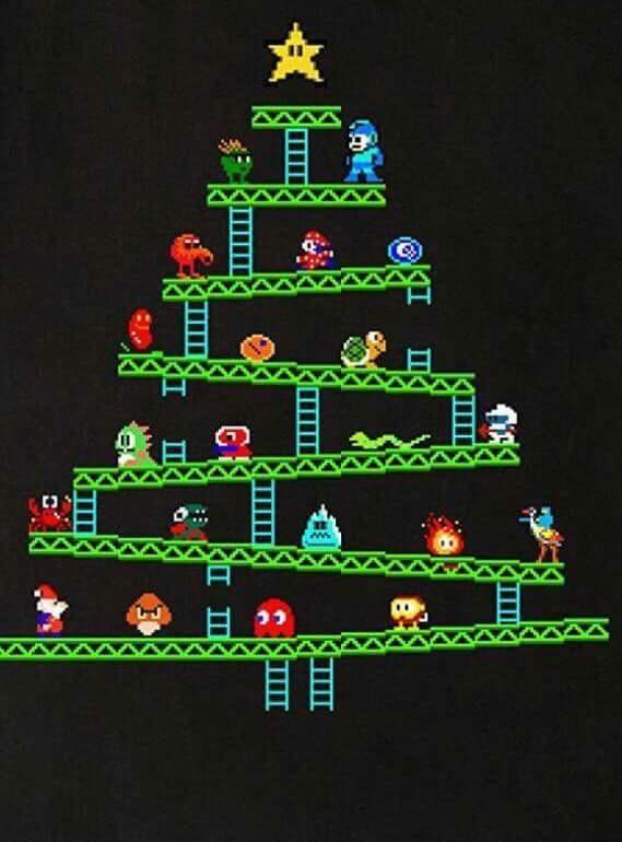 Retro Christmas Tree Retro Video Games Nerdy Christmas Geek Christmas