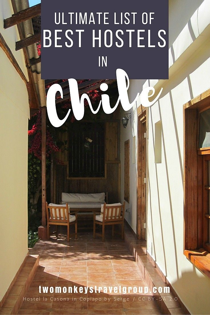 Ultimate List of The Best Hostels in Chile In this article, you will find the following – Best hostels in Santiago; Best hostels in San Pedro de Atacama; Best hostels in Valpariaso; Best hostels in Puerto Natales; Best hostels in Pucon; Best hostels in Punta Arenas; Best hostels in Vina del Mar; Best hostels in La Serena; Best hostels in Puerto Varas; Best hostels in Arica.    Providing you the ultimate list of cities with the BEST HOSTELS IN CHILE – including rates, locations & great…