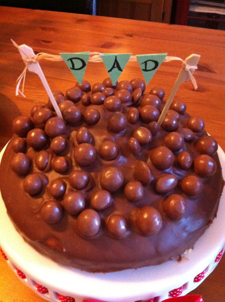 Chocolate revels birthday cake with bunting banner