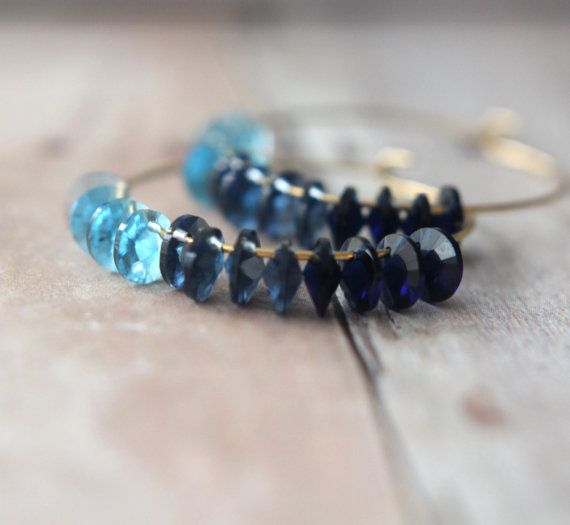 Ombre Blue Hoop Earrings  Swarovski Crystal by MySelvagedLife, $26.00