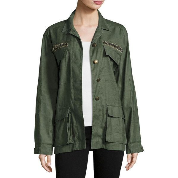 Ramy Brook James Embellished Utility Shirt Jacket ($297) ❤ liked on Polyvore featuring outerwear, jackets, sage, women's apparel jackets, sequin jacket, green jacket, sexy jackets, green utility jacket and shirt jacket
