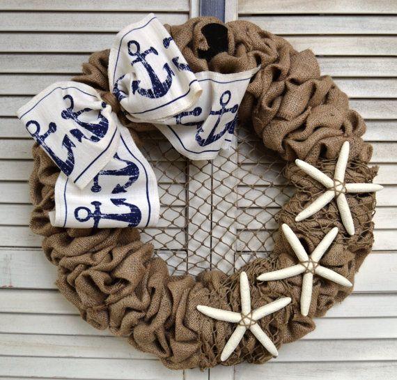 Nautical Burlap Wreath  Anchor Wreath  by MichiganStateOfMind