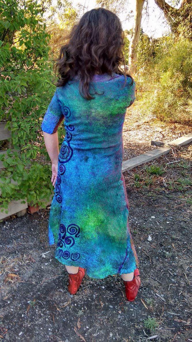 Reversible seamless nuno felted dress by VonFelt