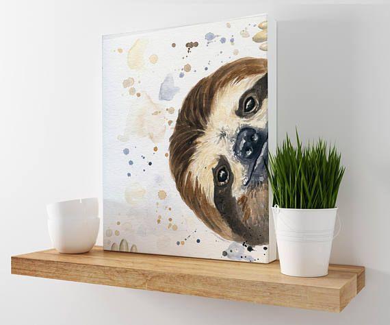 Sloth Print Nursery Decor Sloth Canvas Sloth Nursery Etsy Fox Wall Art Animal Wall Decor Etsy Wall Art