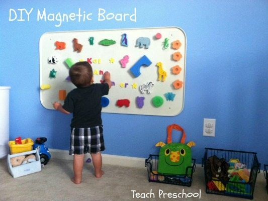 Make your own magnet board for home or for your early childhood classroom! See this post to learn how!