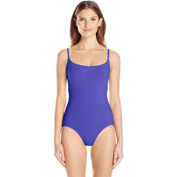 Anne Cole Women's Classic Maillot Solid One Piece Swimsuit ($37) ❤ liked on Polyvore featuring swimwear, one-piece swimsuits, beach wear, one piece swimsuit, swimsuit swimwear, tank bathing suit and swimming costume