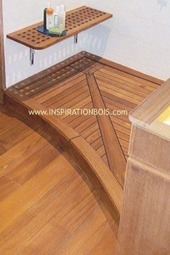 receveur de douche italienne en teck sur mesure siphon. Black Bedroom Furniture Sets. Home Design Ideas