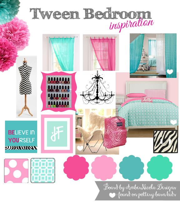 Tween bedroom inspiration in pink, blue, aqua, teal and a splash of black zebra.  Enjoy! =o)