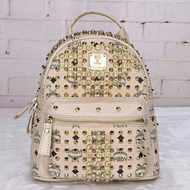 MCM Mini Diamond Stark Backpack In Beige