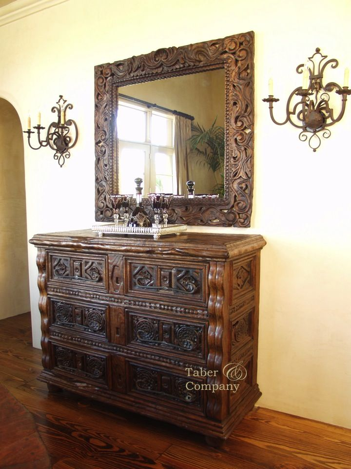 Mediterranean Style Carved Console and Mirror