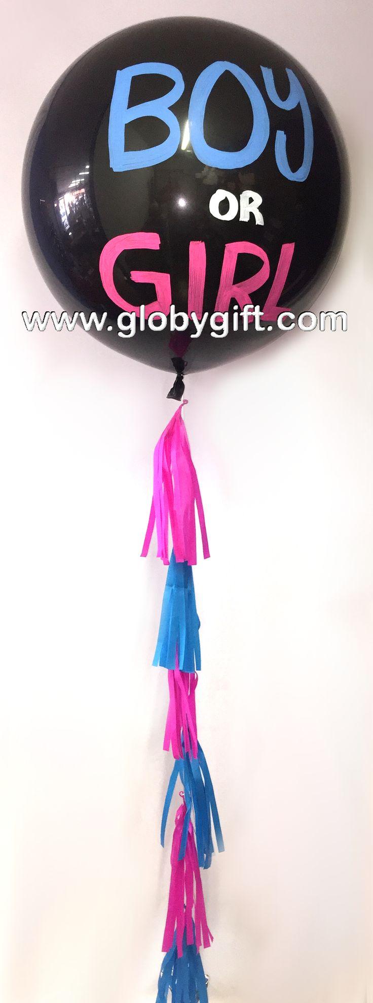 BOY OR GIRL Globo gigante de látex para revelar el sexo del bebé / Giant balloon gender reveal