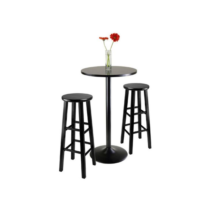 Winsome Obsidian 3 Piece Round Pub Table Set - Black - 20331