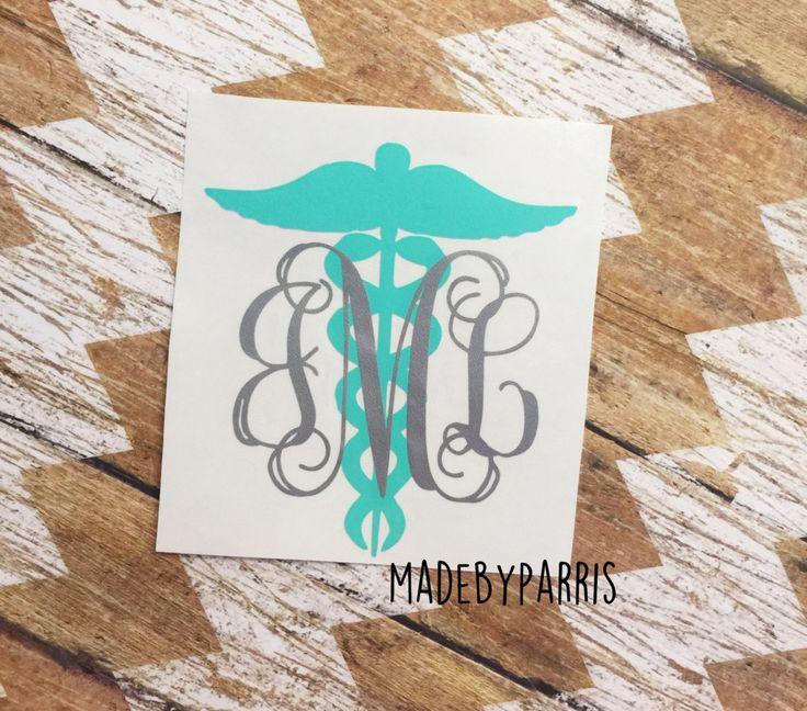 Nurse Caduceus Symbol Monogram Vinyl Decal, Nurse Monogram, Nurse, Caduceus, Medical Decal, Car Decal, Yeti Decal, RN Decal, LPN Decal by MadeByParris on Etsy
