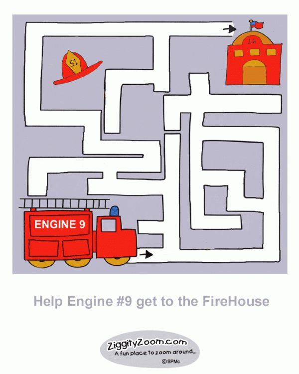 Printable Fire Engine Maze | Ziggity Zoom KIDS ACTIVITY STATION
