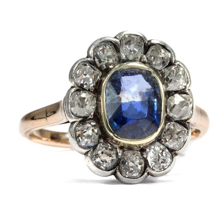 Antiker Russischer Saphir & Diamant Ring, Altschliff Diamanten, Moskau um 1930