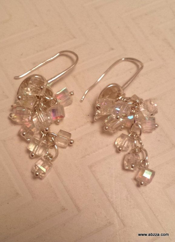 Iridescent Crystal Cube Beads Dangle Earrings by abzzadesigns on Etsy