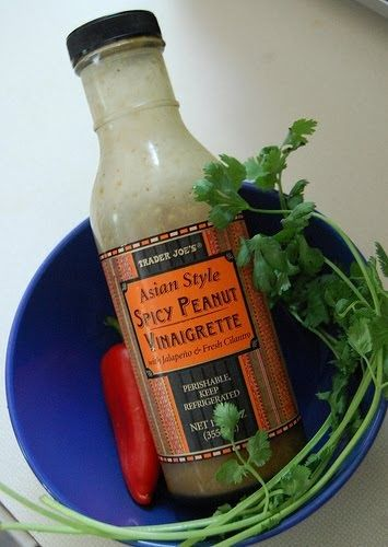 I really have been enjoying using this Spicy Peanut Vinaigrette from Trader Joe's this summer. It has a flavor like a good Thai peanut sa...