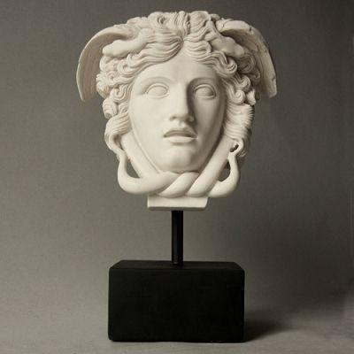 Medusa The Gorgon Head Bust on Base, Perseus Slayed Medusa, Greek Mythology, statue of Medusa, gorgon snake headed