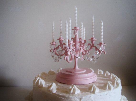 Oh So Blush Pink Candelabra Wedding Cake by ShabulousChandeliers