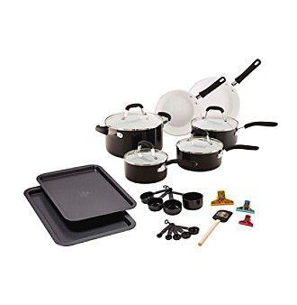 Guy Fieri 25-pc. Black Ceramic Cookware Set
