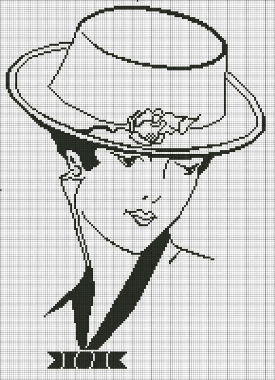 0 point de croix monochrome femme au chapeau - cross stitch lady with a hat