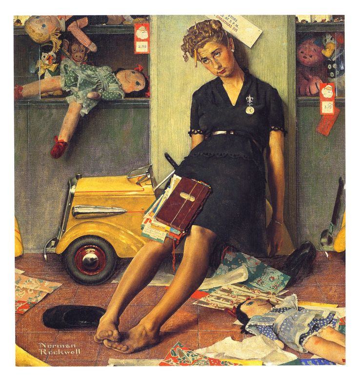 "1947 ""Tired Salesgirl, Christmas Eve"" Norman Rockwell  I know how feels."