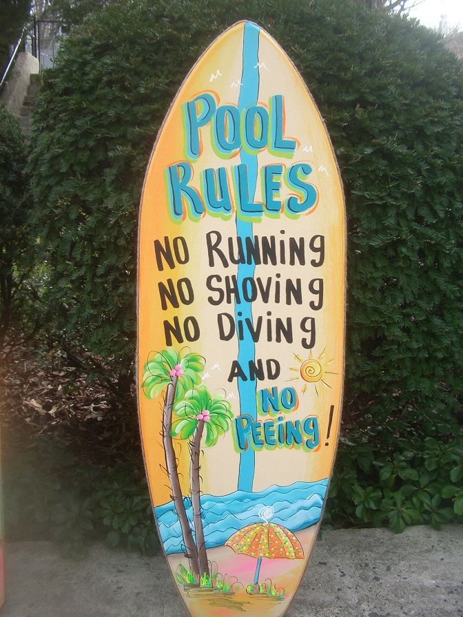 Pool RulesTropical Surfboard Wall Art Hanging by FRANSCOUNTRYNY, $94.95
