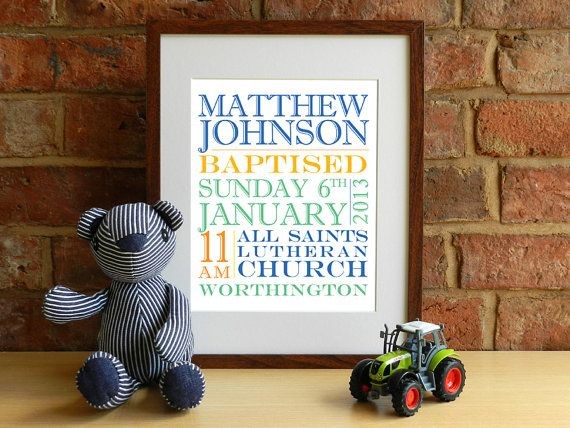 Boys Personalised Baptism / Christening Keepsake print by SmartCreative, £14.00