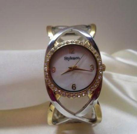 Style&Co;-Women's Open Work Bangle Bracelet Watch