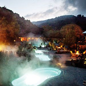 Refuge Spa - Carmel, CA:   You begin with a cedar sauna or stint in the eucalyptus steam room, followed by a dip in a cold waterfall pool. From there, choose how you want to laze. In one of the rooms with zero-gravity recliners? By firepits with Adirondack chairs and views of the hillsides?