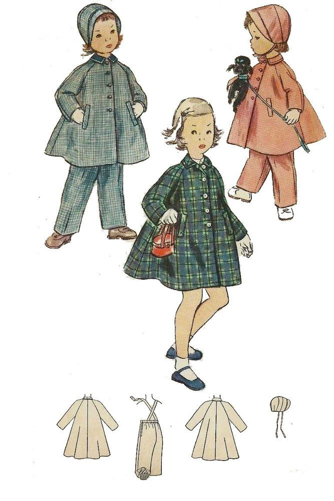 Vintage 1950/'s Sewing Pattern RARE Girl/'s Toddler/'s Dress /& Coat Age 2 Scalloped