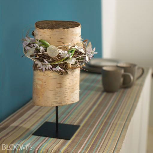 Ideas with birch bark:  The typical appearance of a still leafless and vernal birch copse acting is the white bark. This is what our design concept focuses floristic Spring Ideas and provides trunk or bark of inexpensive and diverse variable material in the foreground. Here entwine onion bulbs and fine tendrils white drum-shaped birch trunk sections... IMG only